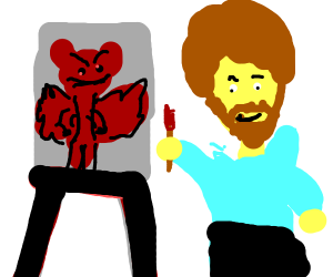Bob Ross painting a demon