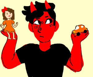 demon, toy doll and toy car.