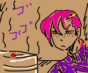 Doppio starring at a menacing lollipop (jojo)