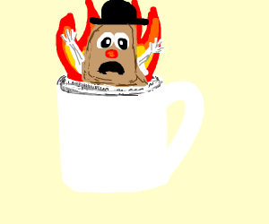 mr potato head burning in a mug