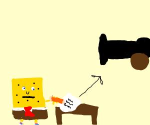 Spongebob writing to Cannon