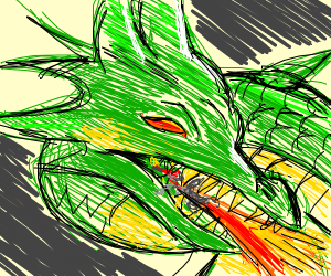 red eyes green dragon breathing fire