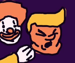 a clown assaults trump