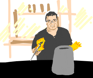 flex tape guy stabbing a can