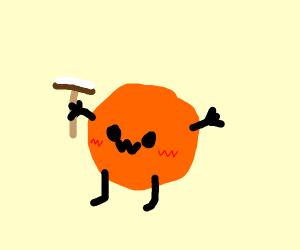 a kawaii orange painting the chimney away