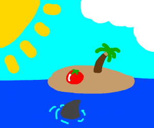 a tomato on an island