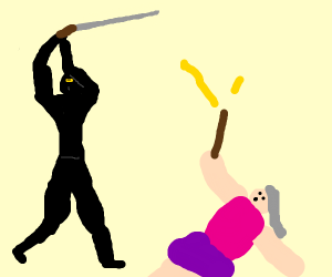 Ninja attacking a lady holding a wand