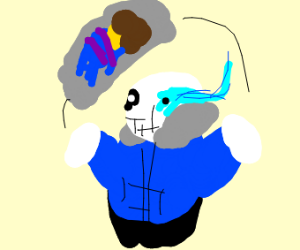 sans joging with a frisk wifu pilow