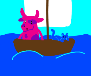 pink cow man is shipped with a small blue cat