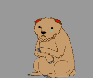 Crying bear with no ears