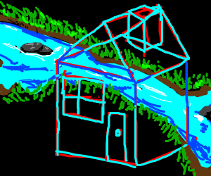 3-D house in front of river,