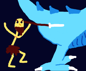 a man chases a dinosaur