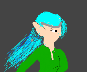 Blue haired elf girl