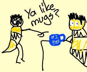Bee asking for blue mug