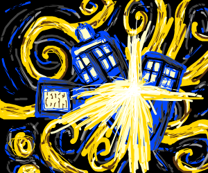 Starry night but with a tardis