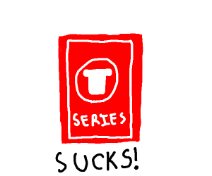 T-series logo with (sucks) written below