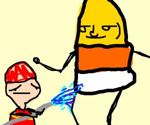 fireman fights huge candy corn