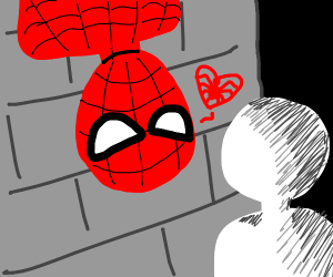 Spiderman awaits your Spiderman kiss