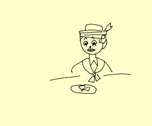 sailor looking at quesadillas