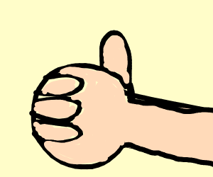 Hand with only 4 fingers gives thumbs up