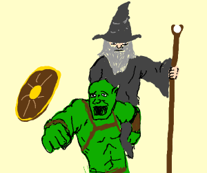 Orc runs away from Gandalf
