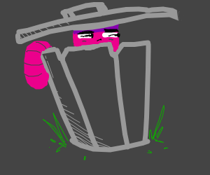 worm in a trash can