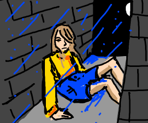 A woman sits in an ally, silent during rain