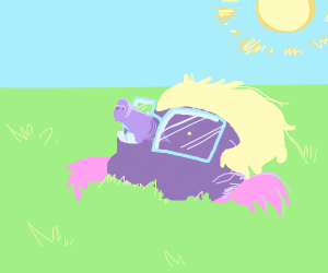 Purple mole with glasses and a blond wig