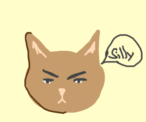 """An angry cat says """"silly"""""""