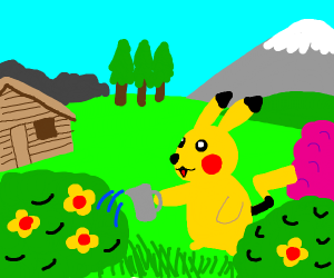 Pikachu watering his garden