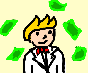 A man w/blond hair, white tux & red b-tie pay