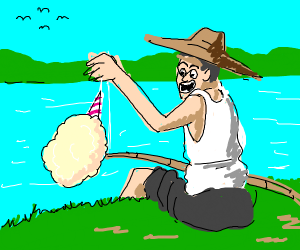 guy fishing cotton candy