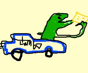 susie the dinosaur Lamborghini eats crackers