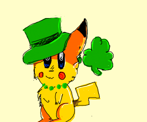 pikachu celebrates St. Patrick's Day
