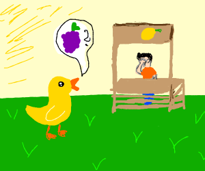 The duck says H E Y to the man at the stand