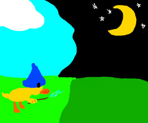 Magic duck changes night to day.