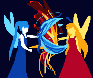 Fire fairy and ice fairy combine powers