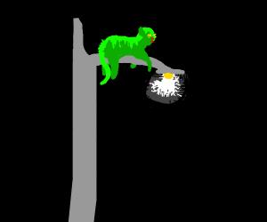 Alien cat on lamp post