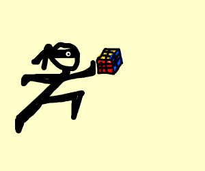 ninjas playing with rubiks cube