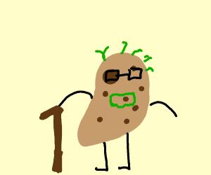 old potato holding a cane