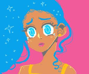 sad girl with light blue eyes and blue hair
