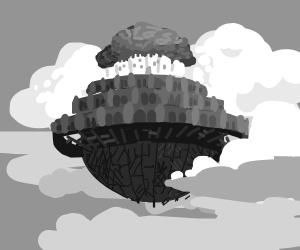the floating island from ghiblib movie