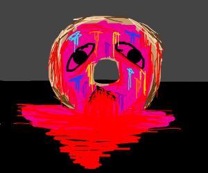 A donut vomiting blood