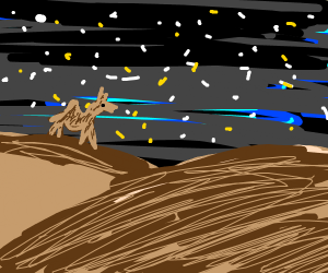 A camel on a hill in a starry night