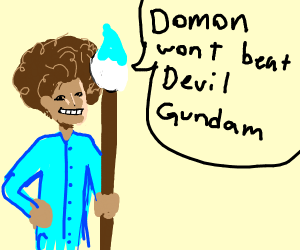 Bob Ross saying Domon wont beat Devil Gundam