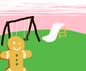 Gingerbread man on the playground