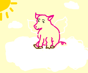 a flying pig sits on clouds