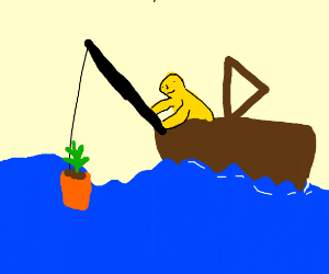 yellow man catching potted plant from the sea
