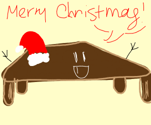 brown happy table saying merryChristmas