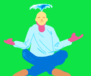 Man with fountain coming out of his head